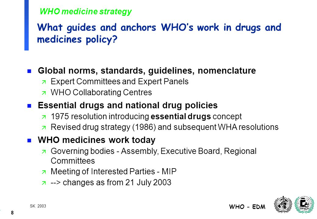 39 WHO - EDM SK 2003 WHO's operational strategies -2-  Work with interested parties and countries to combat counterfeit and substandard drugs  Establishing national and regional quality control laboratories  Training of drug regulatory staff  Development of how to manuals and tools