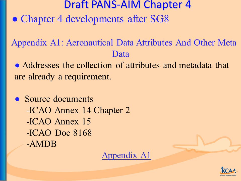 Draft PANS-AIM Chapter 4 Appendix A1: Aeronautical Data Attributes And Other Meta Data ● Addresses the collection of attributes and metadata that are already a requirement.