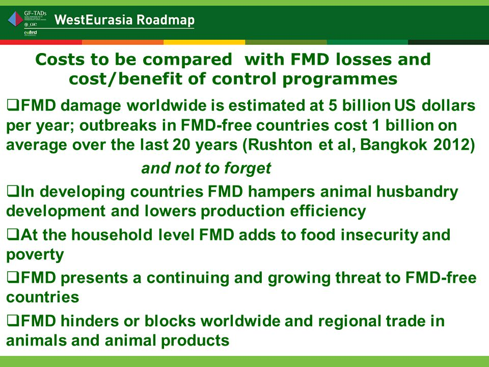 Costs to be compared with FMD losses and cost/benefit of control programmes  FMD damage worldwide is estimated at 5 billion US dollars per year; outbreaks in FMD-free countries cost 1 billion on average over the last 20 years (Rushton et al, Bangkok 2012) and not to forget  In developing countries FMD hampers animal husbandry development and lowers production efficiency  At the household level FMD adds to food insecurity and poverty  FMD presents a continuing and growing threat to FMD-free countries  FMD hinders or blocks worldwide and regional trade in animals and animal products
