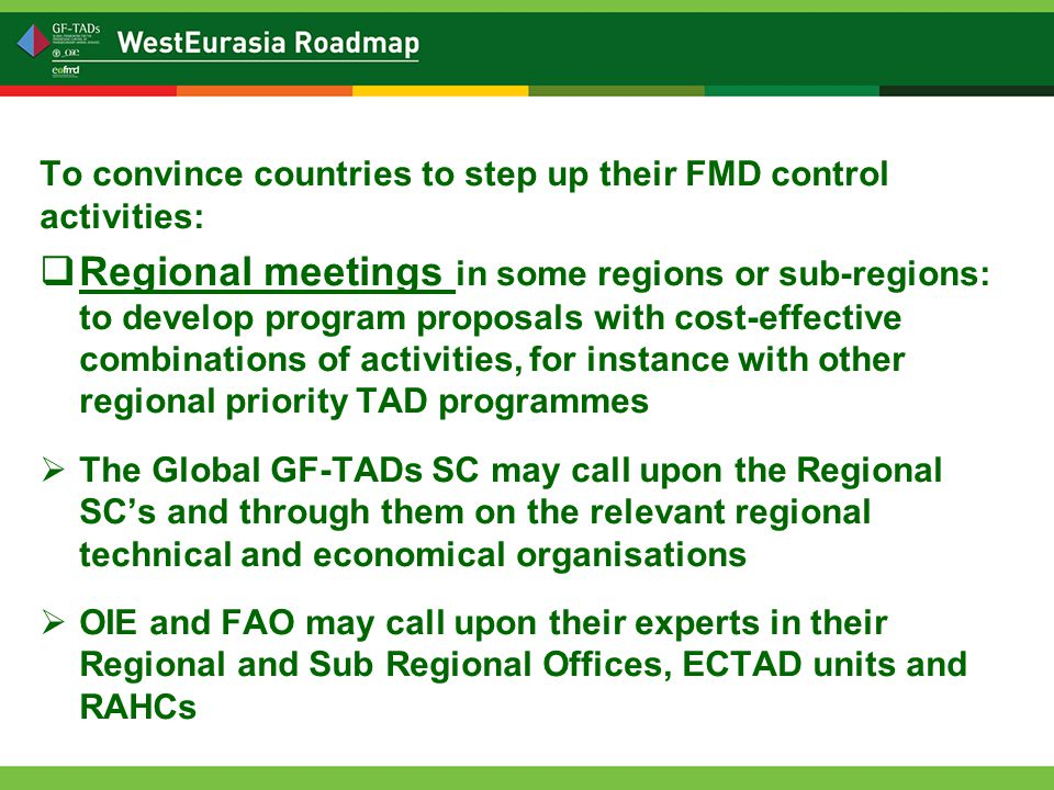 To convince countries to step up their FMD control activities:  Regional meetings in some regions or sub-regions: to develop program proposals with cost-effective combinations of activities, for instance with other regional priority TAD programmes  The Global GF-TADs SC may call upon the Regional SC's and through them on the relevant regional technical and economical organisations  OIE and FAO may call upon their experts in their Regional and Sub Regional Offices, ECTAD units and RAHCs