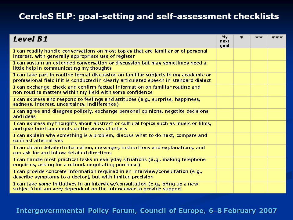 Intergovernmental Policy Forum, Council of Europe, 68 February 2007 CercleS ELP: goal-setting and self-assessment checklists