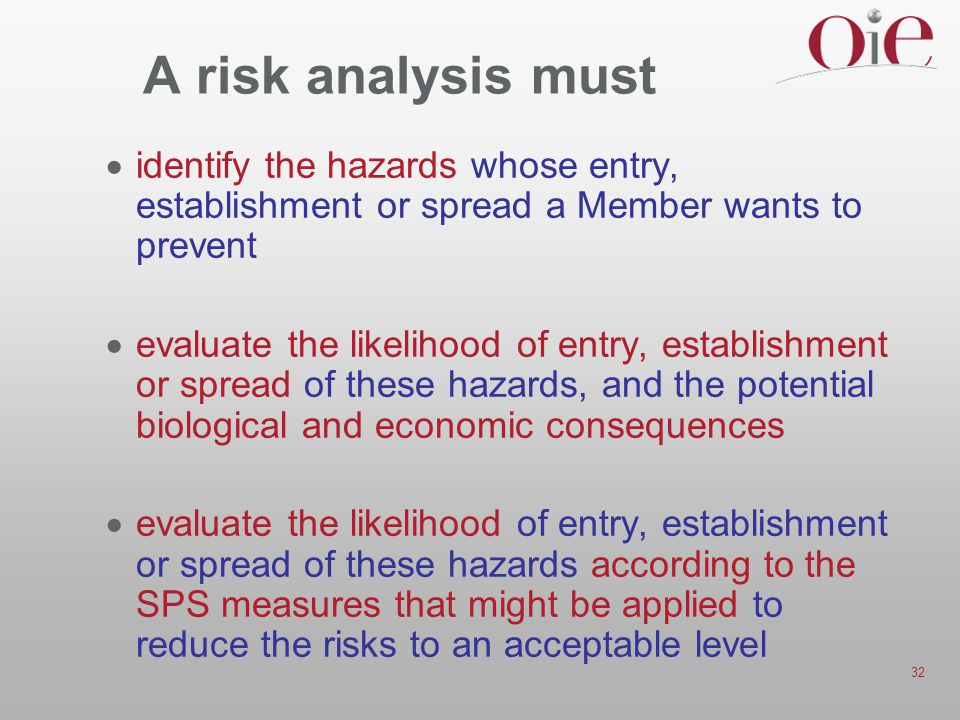 32 A risk analysis must  identify the hazards whose entry, establishment or spread a Member wants to prevent  evaluate the likelihood of entry, establishment or spread of these hazards, and the potential biological and economic consequences  evaluate the likelihood of entry, establishment or spread of these hazards according to the SPS measures that might be applied to reduce the risks to an acceptable level