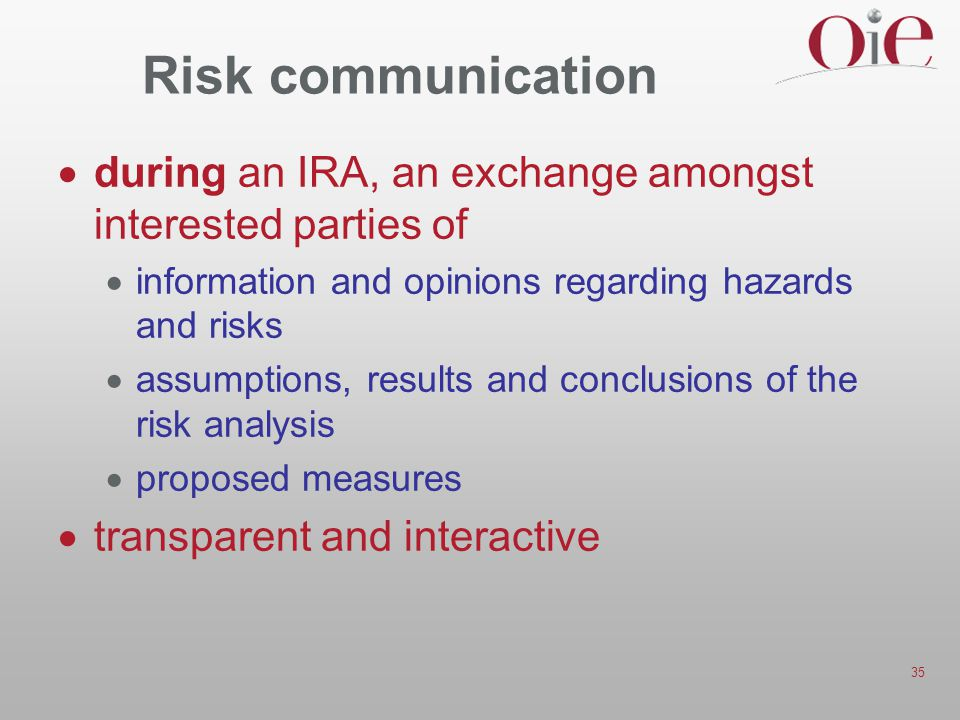 35 Risk communication  during an IRA, an exchange amongst interested parties of  information and opinions regarding hazards and risks  assumptions, results and conclusions of the risk analysis  proposed measures  transparent and interactive