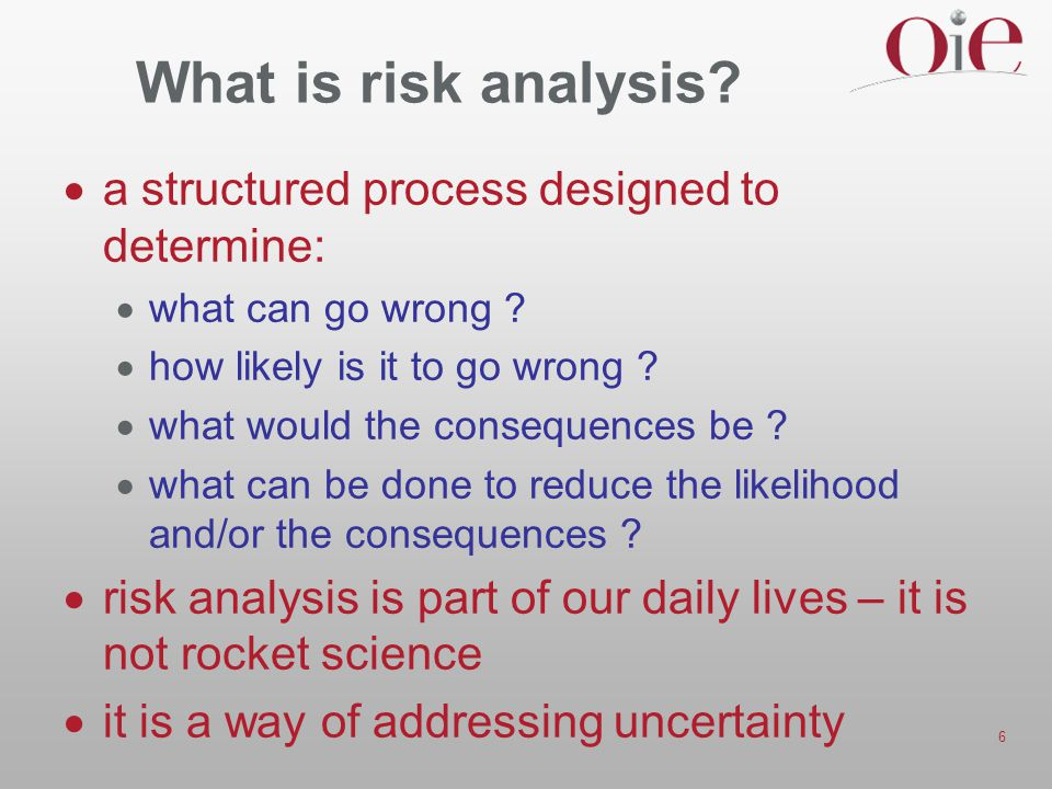6 What is risk analysis. a structured process designed to determine:  what can go wrong .