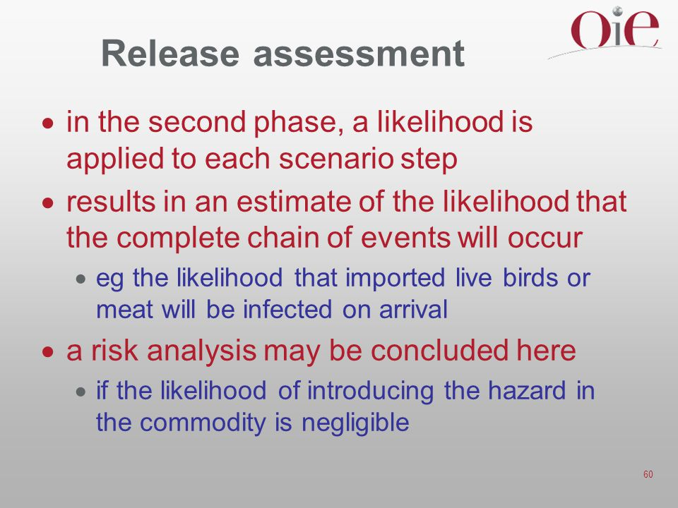 60 Release assessment  in the second phase, a likelihood is applied to each scenario step  results in an estimate of the likelihood that the complete chain of events will occur  eg the likelihood that imported live birds or meat will be infected on arrival  a risk analysis may be concluded here  if the likelihood of introducing the hazard in the commodity is negligible