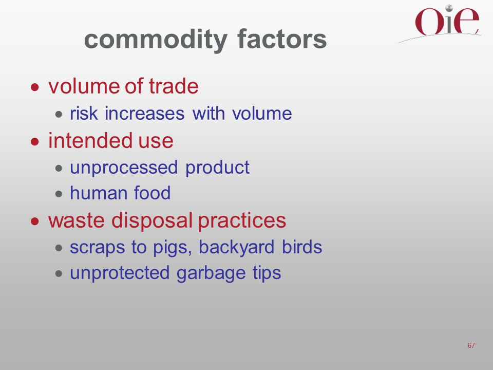 67 commodity factors  volume of trade  risk increases with volume  intended use  unprocessed product  human food  waste disposal practices  scraps to pigs, backyard birds  unprotected garbage tips