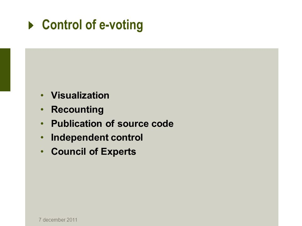 Control of e-voting Visualization Recounting Publication of source code Independent control Council of Experts 7 december 2011