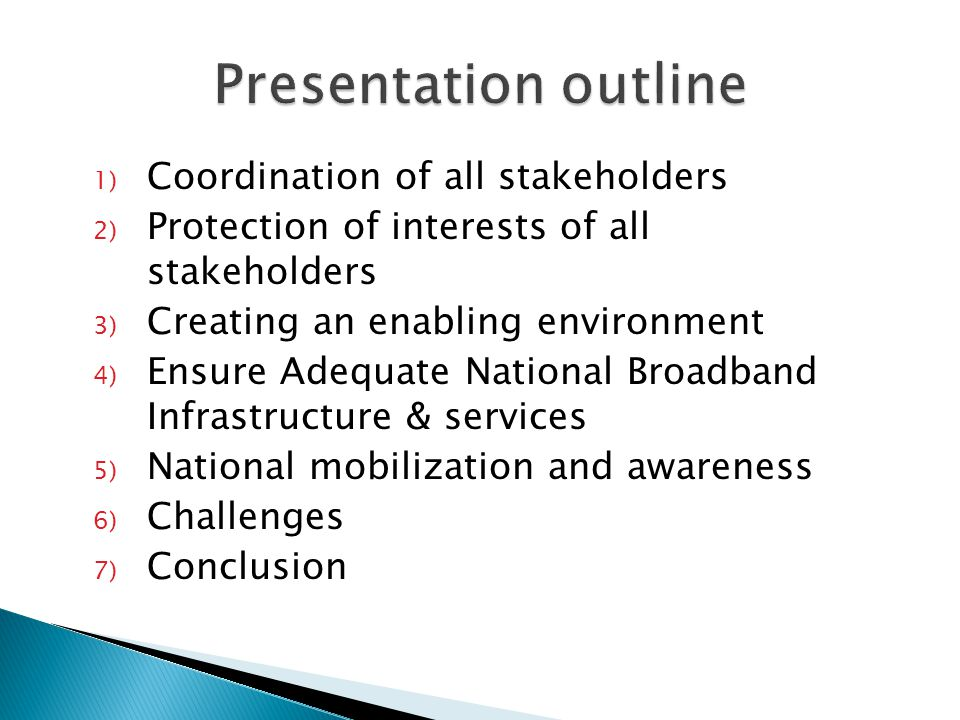 1) Coordination of all stakeholders 2) Protection of interests of all stakeholders 3) Creating an enabling environment 4) Ensure Adequate National Broadband Infrastructure & services 5) National mobilization and awareness 6) Challenges 7) Conclusion