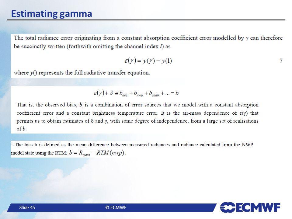 Slide 45© ECMWF Estimating gamma