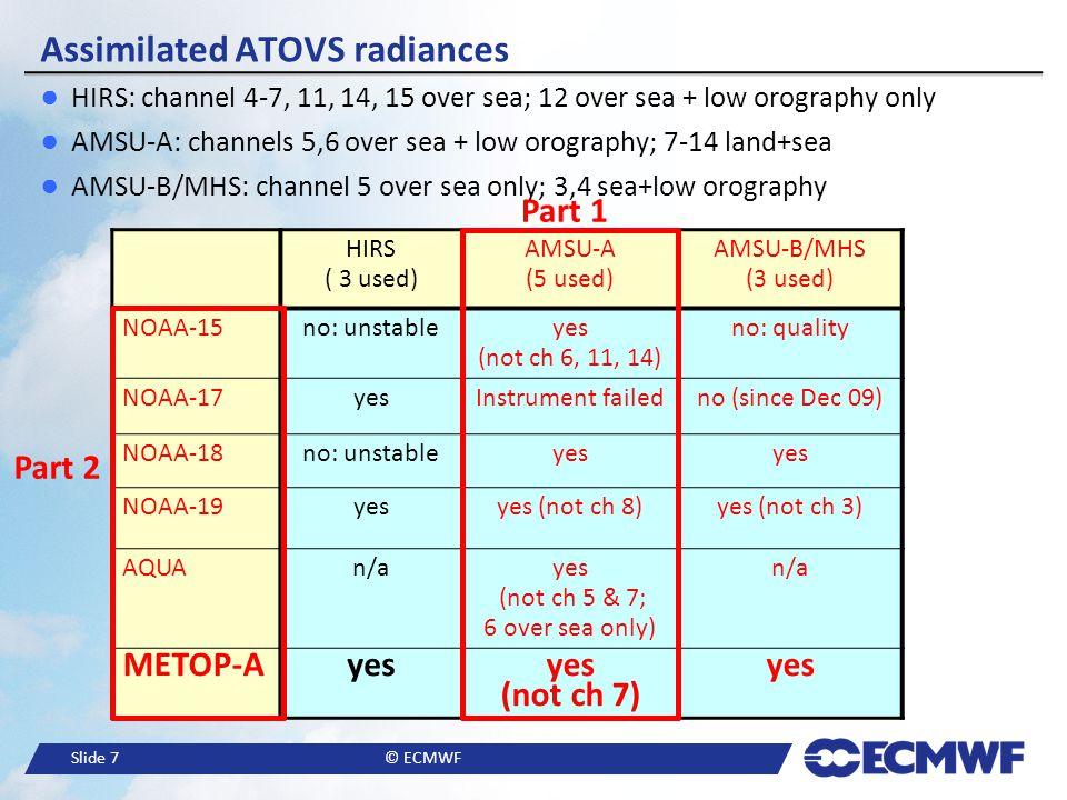 Slide 8© ECMWF Assimilation of ATOVS radiances at ECMWF: Bias correction and impact in NWP (Part 1).