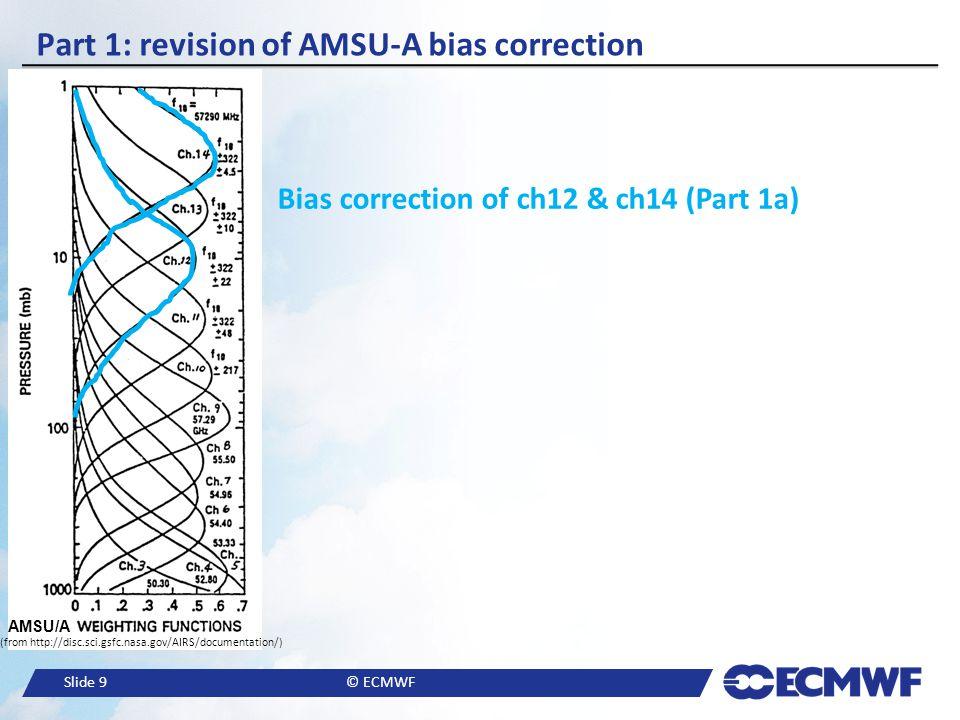 Slide 9© ECMWF Part 1: revision of AMSU-A bias correction Bias correction of ch12 & ch14 (Part 1a) AMSU/A (from http://disc.sci.gsfc.nasa.gov/AIRS/doc
