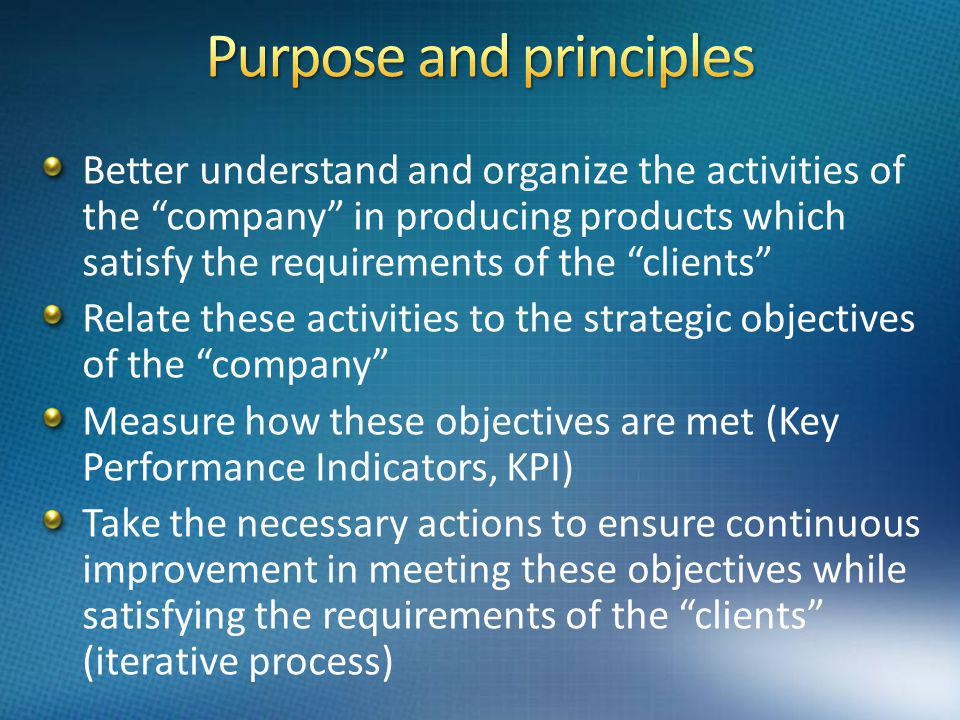 Better understand and organize the activities of the company in producing products which satisfy the requirements of the clients Relate these activities to the strategic objectives of the company Measure how these objectives are met (Key Performance Indicators, KPI) Take the necessary actions to ensure continuous improvement in meeting these objectives while satisfying the requirements of the clients (iterative process)