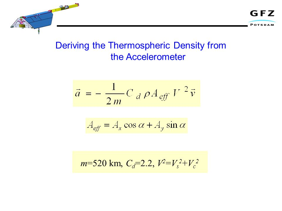 m=520 km, C d =2.2, V 2 =V s 2 +V c 2 Deriving the Thermospheric Density from the Accelerometer