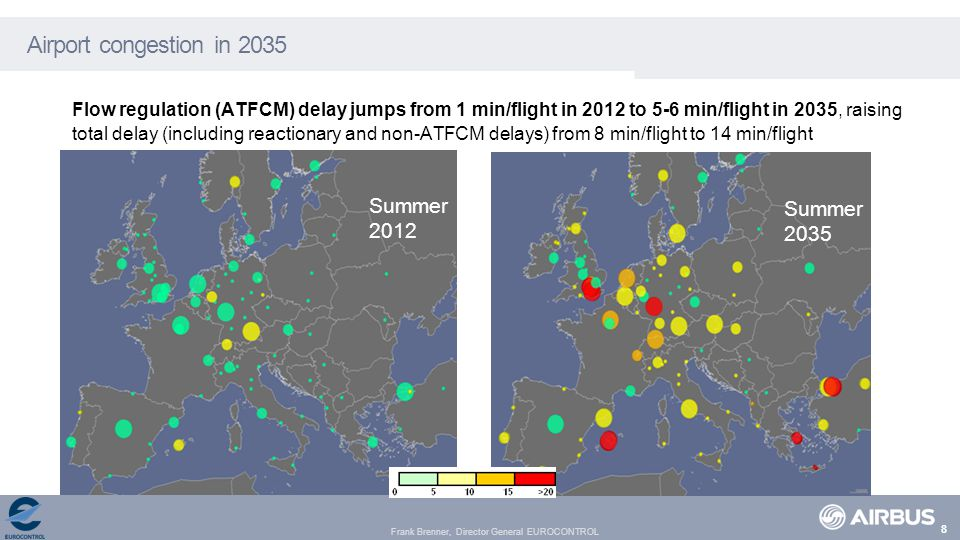 Frank Brenner, Director General EUROCONTROL Airport congestion in 2035 Flow regulation (ATFCM) delay jumps from 1 min/flight in 2012 to 5-6 min/flight in 2035, raising total delay (including reactionary and non-ATFCM delays) from 8 min/flight to 14 min/flight Summer 2012 Summer 2035 8