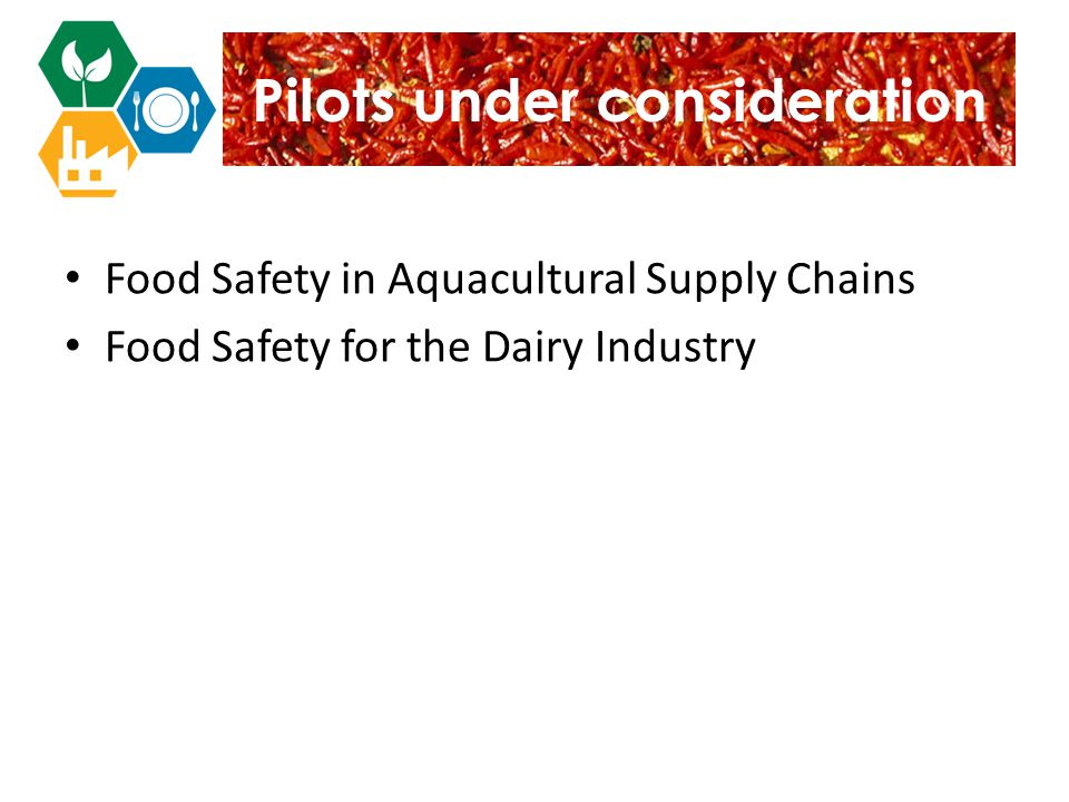 Pilots under consideration Food Safety in Aquacultural Supply Chains Food Safety for the Dairy Industry