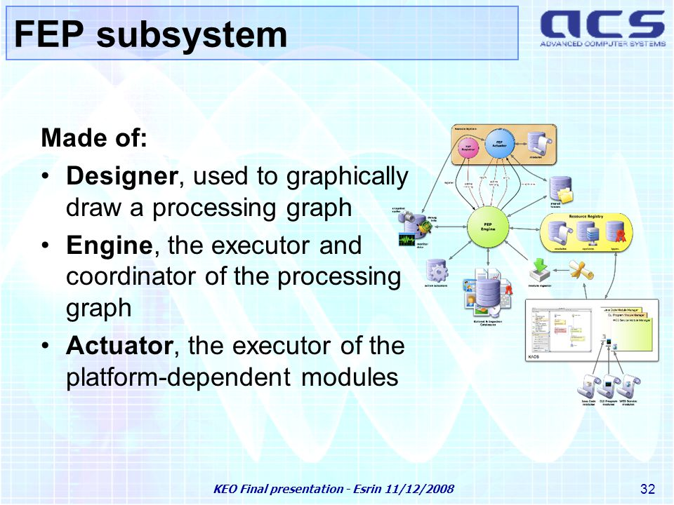 KEO Final presentation - Esrin 11/12/2008 32 FEP subsystem Made of: Designer, used to graphically draw a processing graph Engine, the executor and coordinator of the processing graph Actuator, the executor of the platform-dependent modules