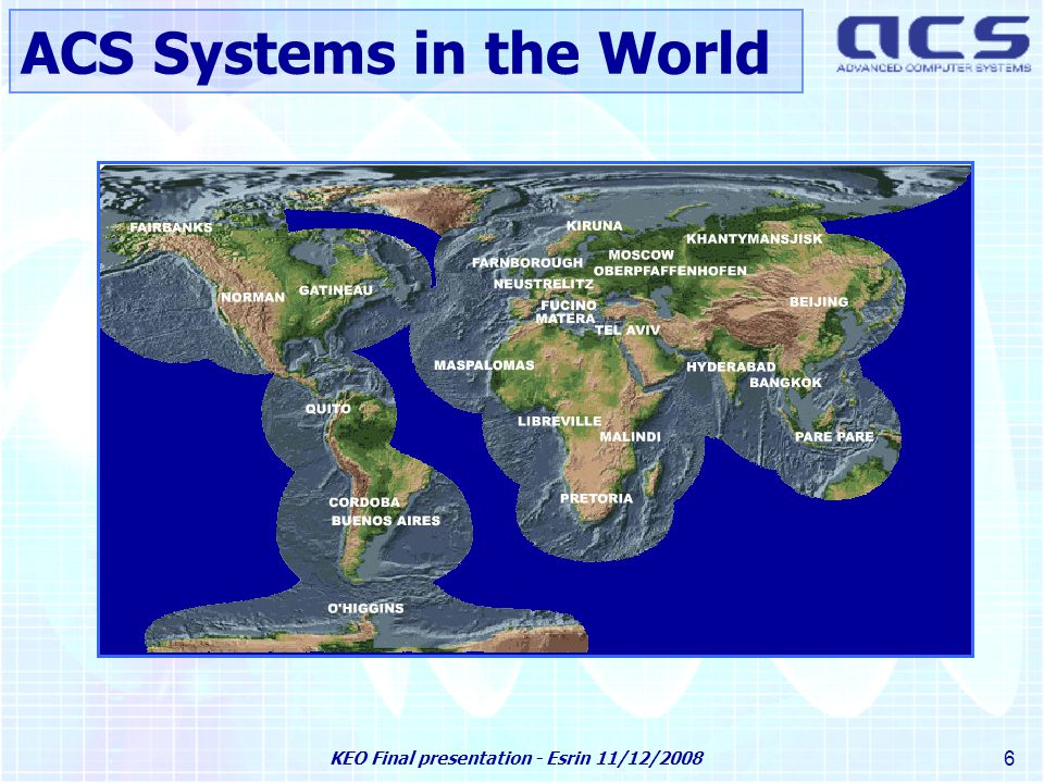 KEO Final presentation - Esrin 11/12/2008 37 AIR web Service Automatic Image Registration –First level of integration of GDAL, but still semi-automatic –Configuration files added for processing different image pairs –Command Line Interface simplification and logfiles centralization Deformation Model Management System –XML files based on OGC standards –C++ library for handling a Deformation Model –Test and visualization tools –Some anomalies still to be corrected Web Service (AIR-WS) –AIR-WS Java application developed on top of AIR Python scripts –Test and visualization tools