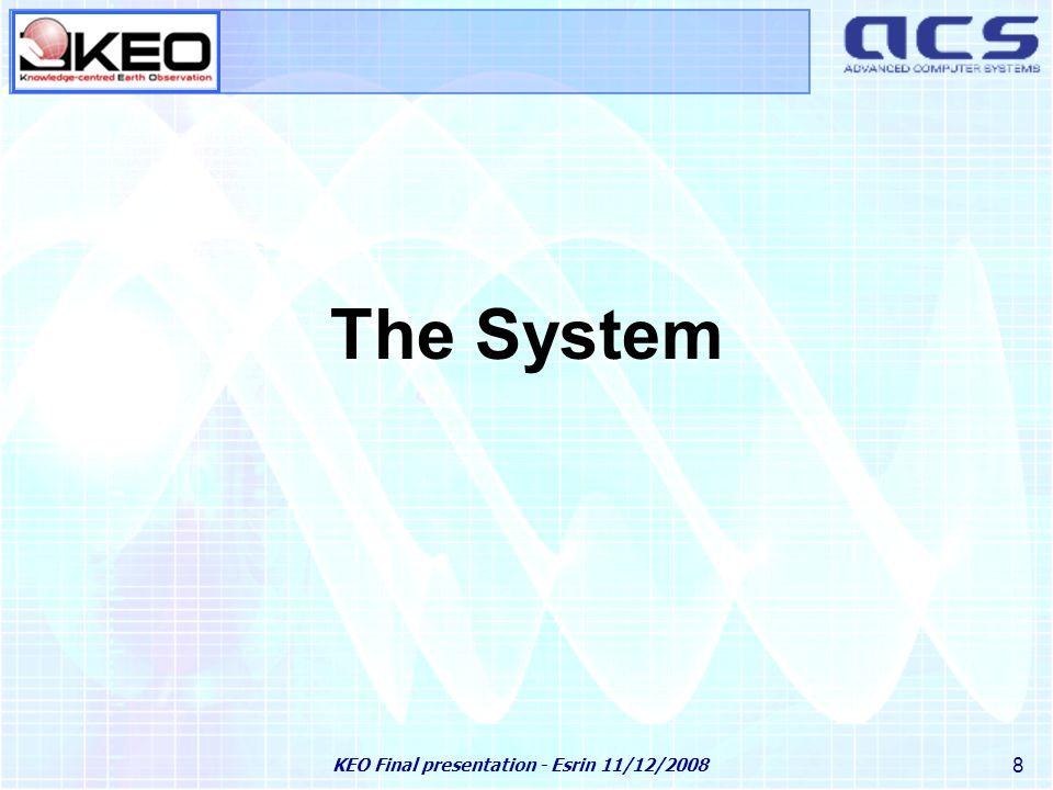 KEO Final presentation - Esrin 11/12/2008 29 Main componets Ingestion subsystem FEP subsystem KARISMA application Reference DataSet Ontology subsystem OGC services KAOS client application