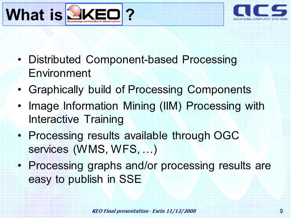 KEO Final presentation - Esrin 11/12/2008 20 Knowledge-based Information Mining KIM Live Demo KIM subsystem