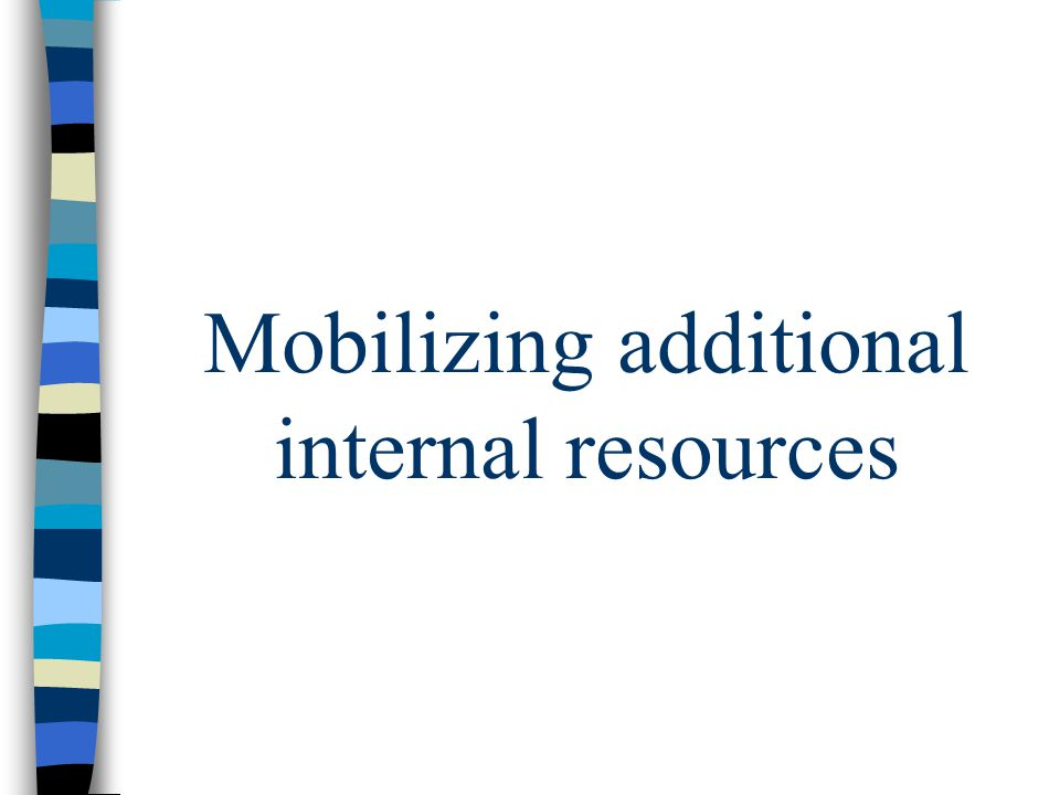 Key strategies Mobilize additional internal resources Mobilize additional external resources Increase reliability of resources Increase program efficiency