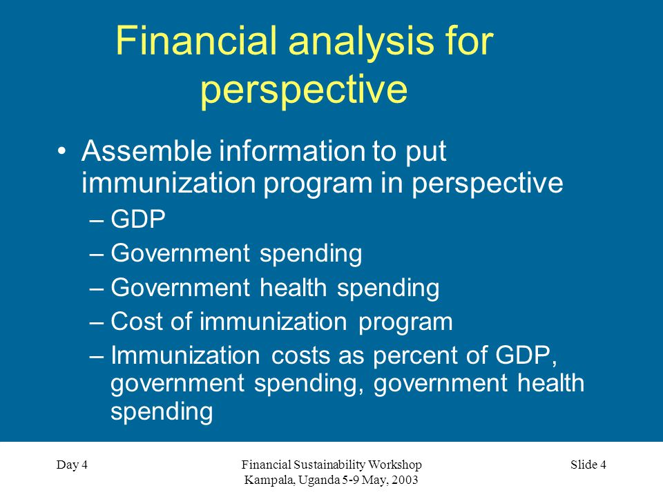 Financial Sustainability Workshop Kampala, Uganda 5-9 May, 2003 Slide 4Day 4 Financial analysis for perspective Assemble information to put immunization program in perspective –GDP –Government spending –Government health spending –Cost of immunization program –Immunization costs as percent of GDP, government spending, government health spending