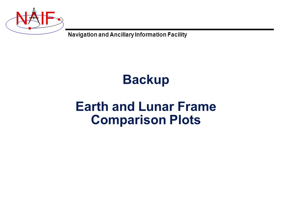 Navigation and Ancillary Information Facility NIF Backup Earth and Lunar Frame Comparison Plots