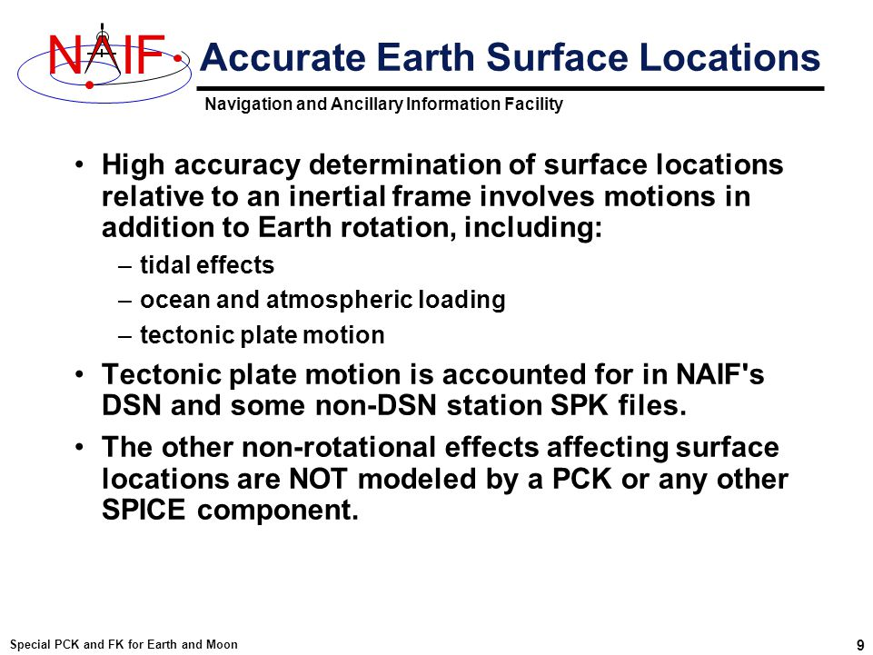 Navigation and Ancillary Information Facility NIF Special PCK and FK for Earth and Moon 20 Better Choice for the Default For the Earth and the Moon there are other choices for body-fixed frame that are almost certainly better than the default body-fixed frame conjured up by SPICE Body SPICE Default Body-fixed Frame Better choices Earth IAU_Earth ITRF93 ITRFxx (in the future) Moon IAU_Moon Moon_PA Moon_ME