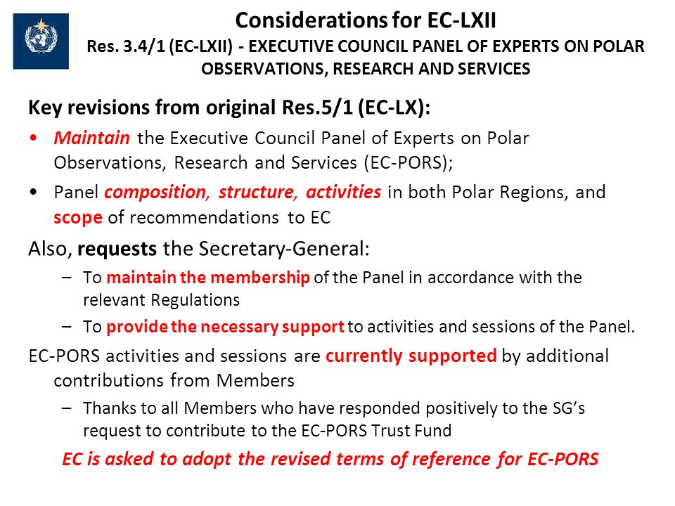 Considerations for EC-LXII Res.