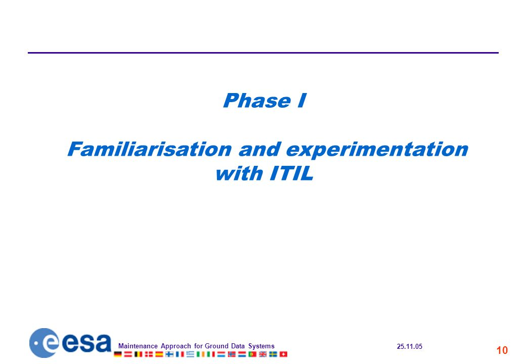 25.11.05 Maintenance Approach for Ground Data Systems 10 Phase I Familiarisation and experimentation with ITIL