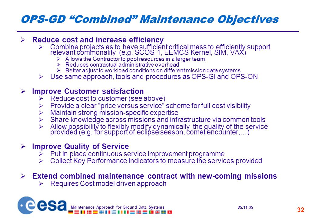25.11.05 Maintenance Approach for Ground Data Systems 32 OPS-GD Combined Maintenance Objectives  Reduce cost and increase efficiency  Combine projects as to have sufficient critical mass to efficiently support relevant commonality (e.g.