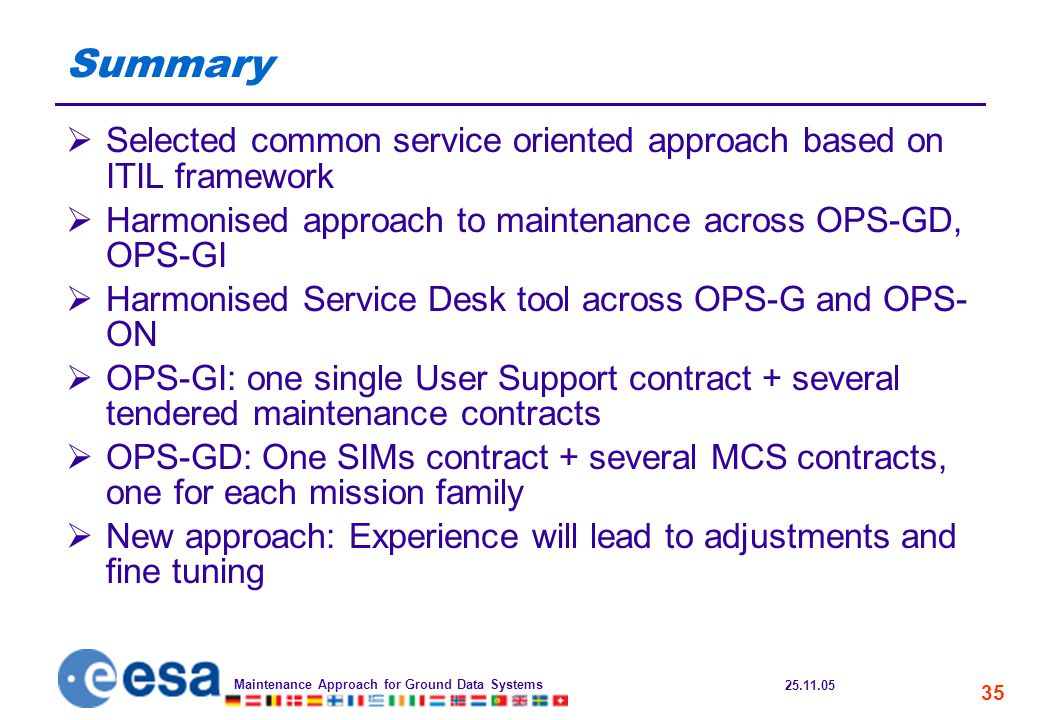 25.11.05 Maintenance Approach for Ground Data Systems 35 Summary  Selected common service oriented approach based on ITIL framework  Harmonised approach to maintenance across OPS-GD, OPS-GI  Harmonised Service Desk tool across OPS-G and OPS- ON  OPS-GI: one single User Support contract + several tendered maintenance contracts  OPS-GD: One SIMs contract + several MCS contracts, one for each mission family  New approach: Experience will lead to adjustments and fine tuning