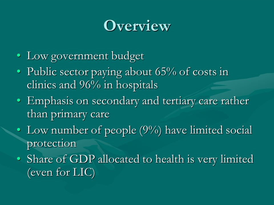 Overview Low government budgetLow government budget Public sector paying about 65% of costs in clinics and 96% in hospitalsPublic sector paying about 65% of costs in clinics and 96% in hospitals Emphasis on secondary and tertiary care rather than primary careEmphasis on secondary and tertiary care rather than primary care Low number of people (9%) have limited social protectionLow number of people (9%) have limited social protection Share of GDP allocated to health is very limited (even for LIC)Share of GDP allocated to health is very limited (even for LIC)