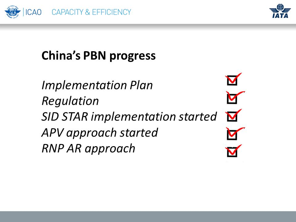 China's PBN progress Implementation Plan Regulation SID STAR implementation started APV approach started RNP AR approach