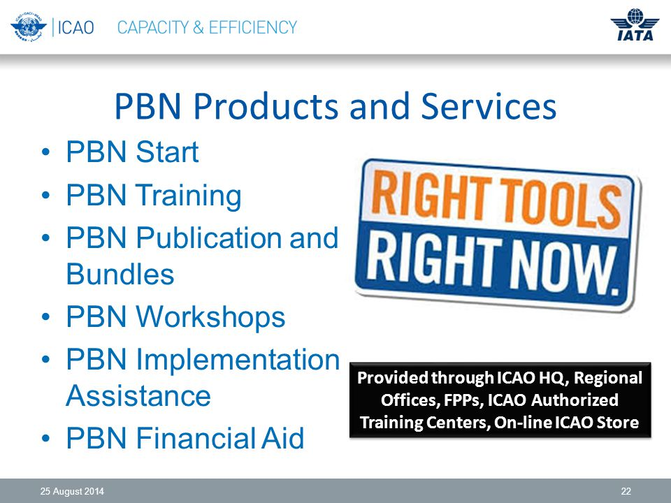 PBN Products and Services PBN Start PBN Training PBN Publication and Bundles PBN Workshops PBN Implementation Assistance PBN Financial Aid 25 August Provided through ICAO HQ, Regional Offices, FPPs, ICAO Authorized Training Centers, On-line ICAO Store