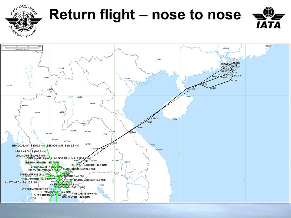 Return flight – nose to nose