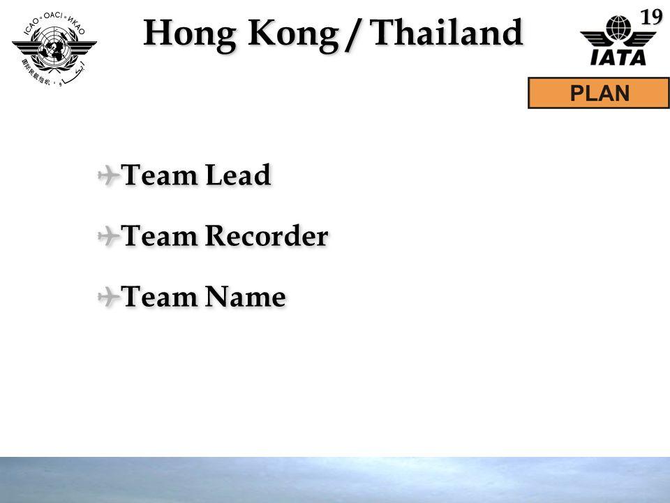 Hong Kong / Thailand ✈ Team Lead ✈ Team Recorder ✈ Team Name ✈ Team Lead ✈ Team Recorder ✈ Team Name 19