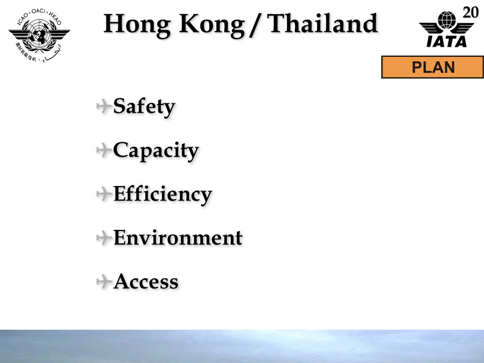 Hong Kong / Thailand ✈ Safety ✈ Capacity ✈ Efficiency ✈ Environment ✈ Access ✈ Safety ✈ Capacity ✈ Efficiency ✈ Environment ✈ Access 20