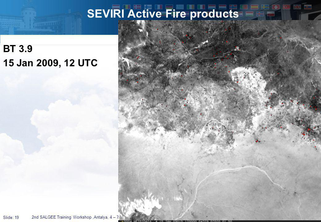 Slide: 19 SEVIRI Active Fire products 2nd SALGEE Training Workshop,Antalya, 4 – 7 April 2011 BT 3.9 15 Jan 2009, 12 UTC