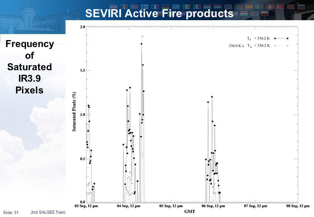 Slide: 31 SEVIRI Active Fire products 2nd SALGEE Training Workshop,Antalya, 4 – 7 April 2011 Frequency of Saturated IR3.9 Pixels