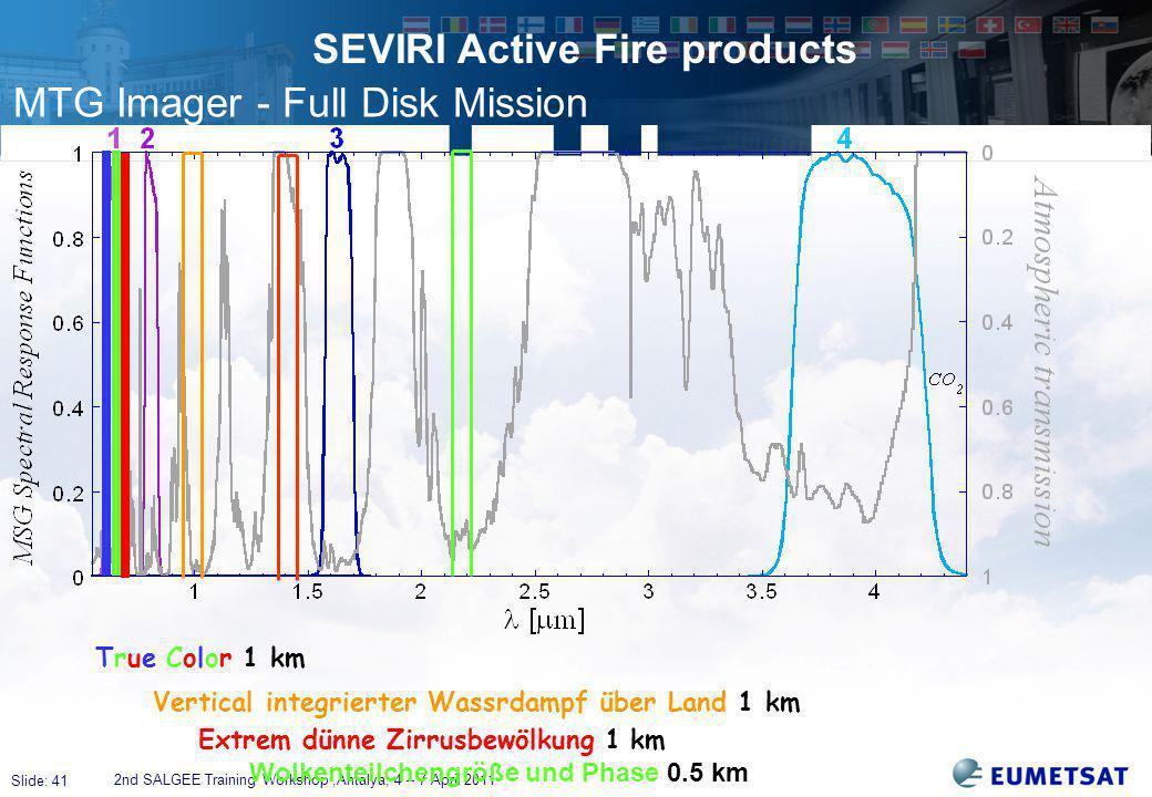 Slide: 41 SEVIRI Active Fire products 2nd SALGEE Training Workshop,Antalya, 4 – 7 April 2011 True Color 1 km Vertical integrierter Wassrdampf über Land 1 km Extrem dünne Zirrusbewölkung 1 km Wolkenteilchengröße und Phase 0.5 km MTG Imager - Full Disk Mission