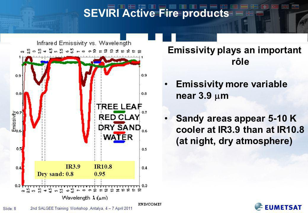 Slide: 8 SEVIRI Active Fire products 2nd SALGEE Training Workshop,Antalya, 4 – 7 April 2011 Emissivity plays an important rôle Emissivity more variable near 3.9  m Sandy areas appear 5-10 K cooler at IR3.9 than at IR10.8 (at night, dry atmosphere) IR3.9IR10.8 Dry sand:0.80.95