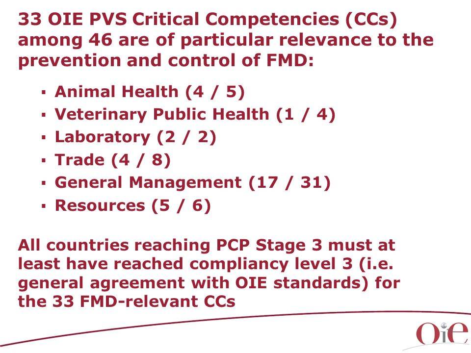 10 33 OIE PVS Critical Competencies (CCs) among 46 are of particular relevance to the prevention and control of FMD:  Animal Health (4 / 5)  Veterinary Public Health (1 / 4)  Laboratory (2 / 2)  Trade (4 / 8)  General Management (17 / 31)  Resources (5 / 6) All countries reaching PCP Stage 3 must at least have reached compliancy level 3 (i.e.