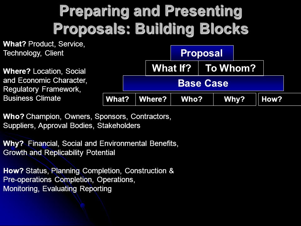 Preparing and Presenting Proposals: Building Blocks What?Where?Who?Why?How.