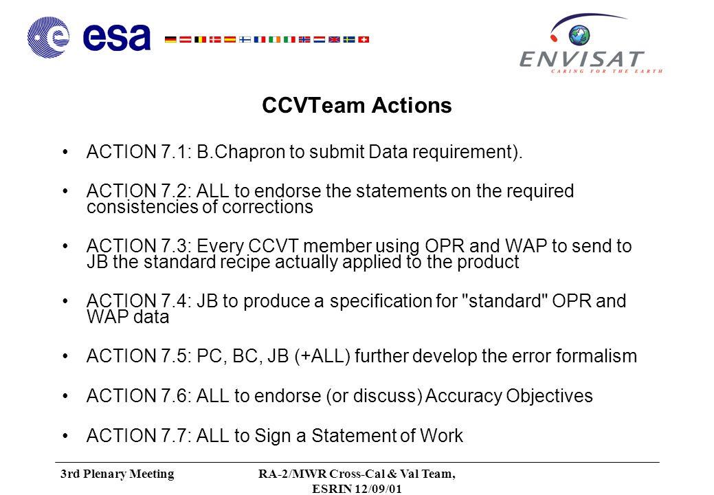 3rd Plenary MeetingRA-2/MWR Cross-Cal & Val Team, ESRIN 12/09/01 RA-2/MWR Product Tree