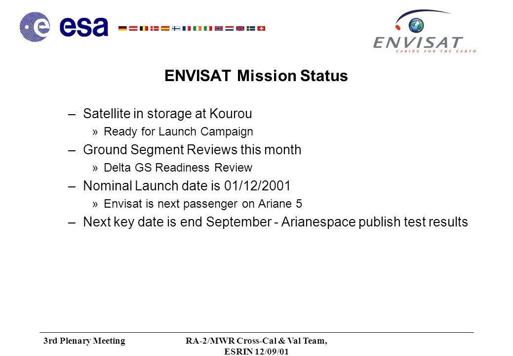3rd Plenary MeetingRA-2/MWR Cross-Cal & Val Team, ESRIN 12/09/01 Schedule ---- use page 90 of PLAN v1.0