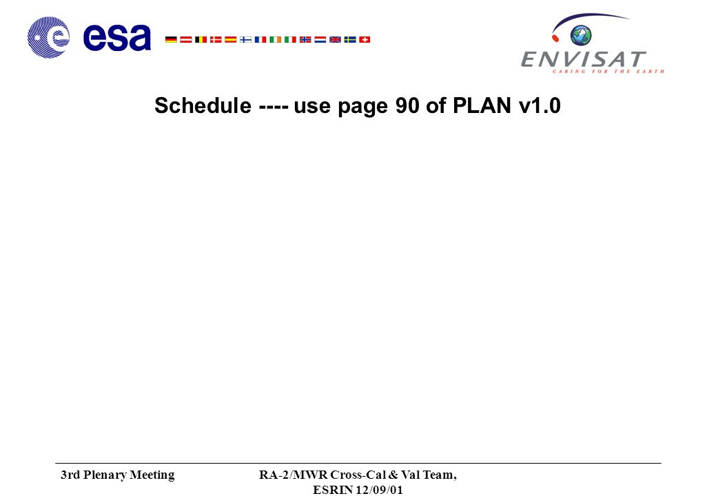 3rd Plenary MeetingRA-2/MWR Cross-Cal & Val Team, ESRIN 12/09/01 Conclusion Review of Actions Data requirements frozen Next steps: –Review version 1.0 of the Plan –Establish and sign Statement of Work Schedule Meetings –Date and place of the next meeting »After Launch (L+2m and/or L+3m)
