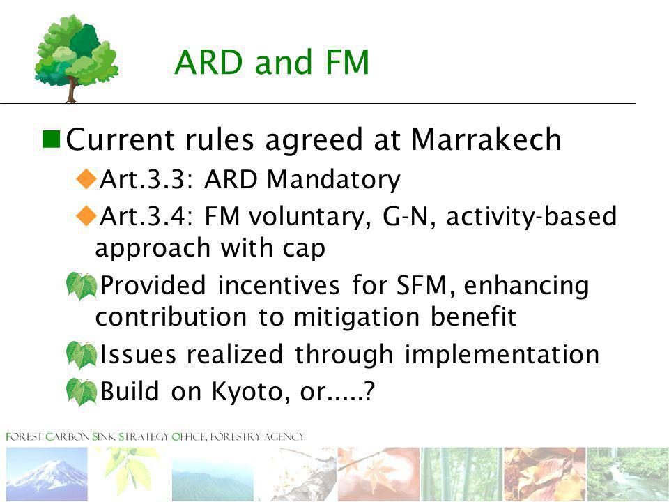 ARD and FM Current rules agreed at Marrakech  Art.3.3: ARD Mandatory  Art.3.4: FM voluntary, G-N, activity-based approach with cap  Provided incentives for SFM, enhancing contribution to mitigation benefit  Issues realized through implementation  Build on Kyoto, or.....