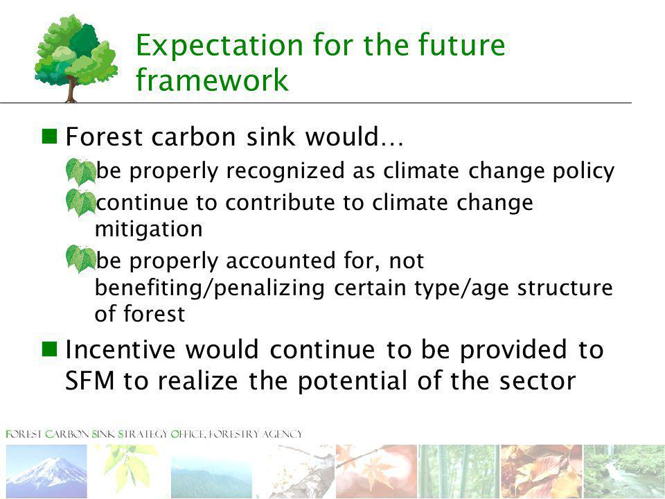 Expectation for the future framework Forest carbon sink would…  be properly recognized as climate change policy  continue to contribute to climate c