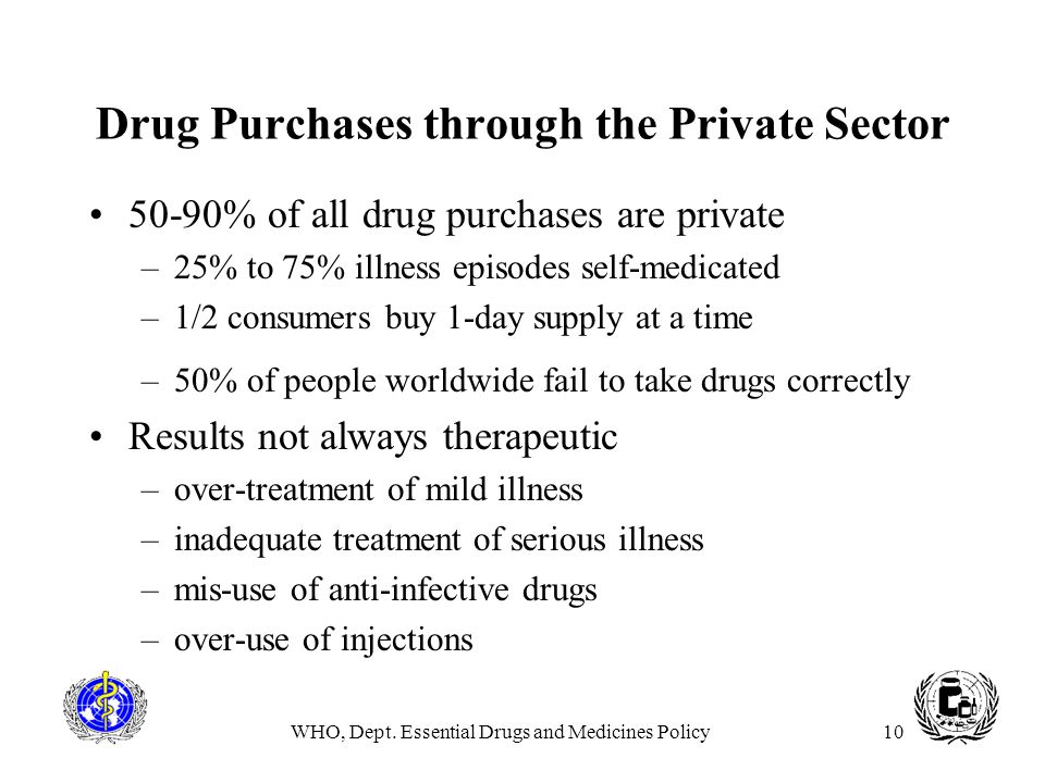 WHO, Dept. Essential Drugs and Medicines Policy10 Drug Purchases through the Private Sector 50-90% of all drug purchases are private –25% to 75% illne