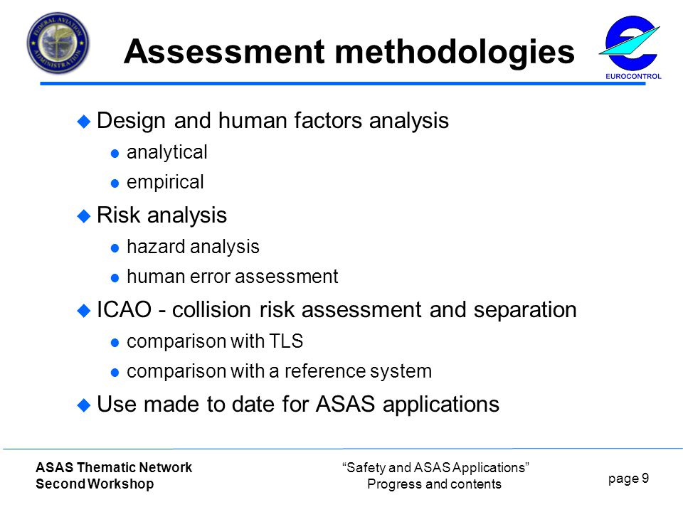 page 9 ASAS Thematic Network Second Workshop Safety and ASAS Applications Progress and contents Assessment methodologies  Design and human factors analysis analytical empirical  Risk analysis hazard analysis human error assessment  ICAO - collision risk assessment and separation comparison with TLS comparison with a reference system  Use made to date for ASAS applications